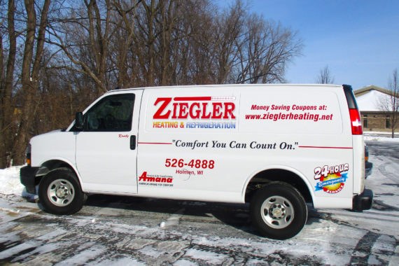 Partial wrap graphics on driver side of van for Ziegler Heating & Refrigeration