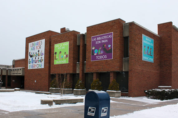 Banner graphics on the walls of La Crosse Public Library